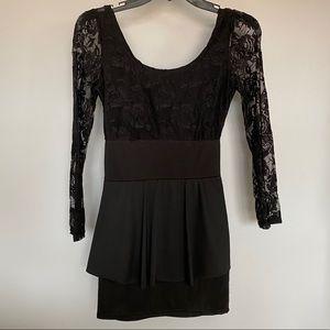 Dresses - Black lace mini dress